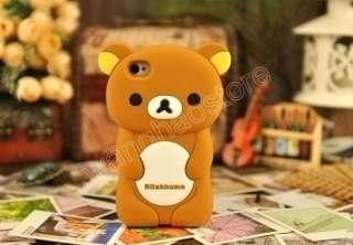 Brown Silicone Rilakkuma Bear Rubber 3D Case Cover Skin iPhone 4 4GS