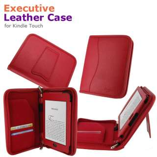 Executive Leather Case Cover for  Kindle Touch Latest Model Red