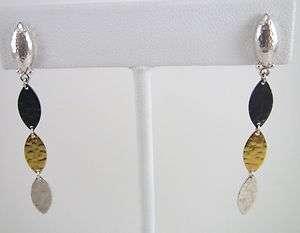 NEW GURHAN Willow Triple Drop Earrings, 24K Gold & Sterling Silver