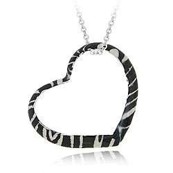 Sterling Silver Heart shape Zebra Design Necklace