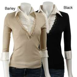 Dolce Cabo Womens Lace Trim French Cuff Shirt