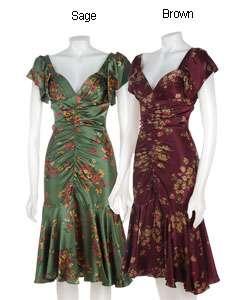 Betsey Johnson Autumn Floral Charmeuse Dress