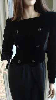 Gorgeous VALENTINO Boutique Black Velvet Wool Military Cocktail Dress