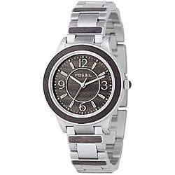 Fossil Womens Steel and Wood Analog Watch