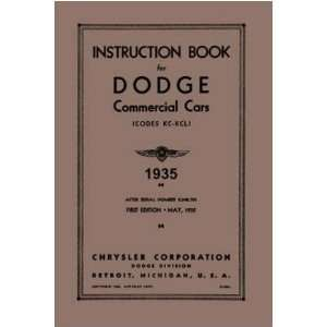 1935 DODGE TRUCK KC KCL Owners Manual User Guide