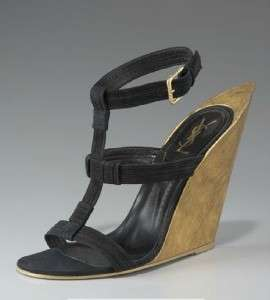 YSL YVES SAINT LAURENT Black Suede T Strap Wedge Sandal Shoe 38 NIB