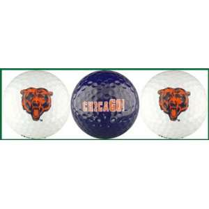 Chicago Bears Golf Balls 3 Piece Gift Set with NFL Football Team Logos