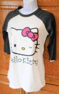 HELLO KITTY~ DISTRESSED PINK BOW GRAY SLEEVES WINK RAGLAN