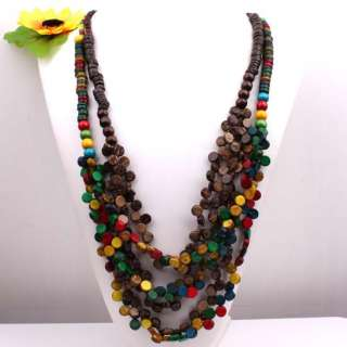 Handmade Multi color Coconut Shell Beads Necklace 30L