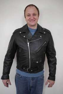EXCELLED Black LEATHER Motorcycle BIKER Quilt Lined JACKET USA 40 R