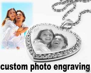 Custom Photo Engraving Cubic Stone Heart Charm Dog Tag
