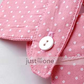 Fashion Girls Pink+White Small Spots Round Neck Collar