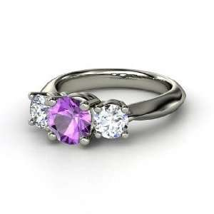 Ring, Round Amethyst 14K White Gold Ring with Diamond Jewelry