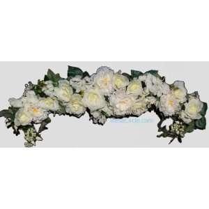 46 XL Faux Cream Roses Peonies Silk Swag
