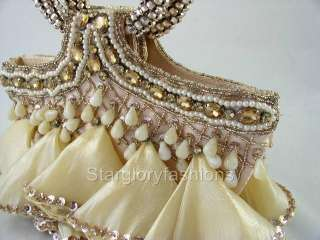 Dangling Champagne/Lt Gold Crystal Wedding Prom Purse@@
