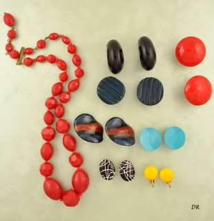 8pc Lot of Colorful Vintage Costume Earrings & Necklace