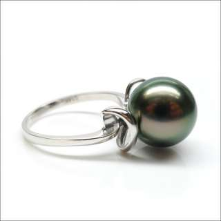 AAA 10.8MM GREEN TAHITIAN PEARL 14K GOLD RING NATURAL PEARL 6#