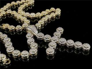 Yellow Gold Finish White Cz Flower Chain Necklace+Cross Set+Free Ship
