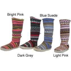 Muk Luks Womens Fairisle Knit Toggle Memory Foam Boots