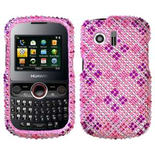 Plaid Hot Pink/Purple bling Phone case for HUAWEI M615 Pillar M635