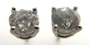 Round Diamond Stud Earrings 14k White Gold 1.81 Ct J I2