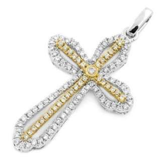 FINE DIAMOND CROSS PENDANT NECKLACE 18k TWO TONE GOLD