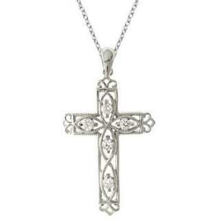 Diamond Filigree Cross Pendant Necklace 14k White Gold