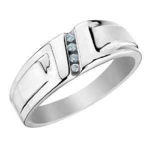 Mens Diamond Wedding Band Carat (ctw) in 10K White Gold