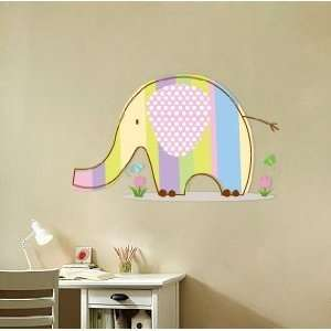 Kids Elephant Vinyl Wall Decal with Flowers Grass and