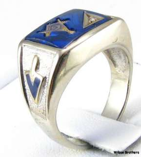 Master Mason RING   10k White Gold *Blue Stone* Masonic Diamond