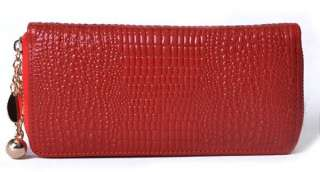 Fashion CROCO Genuine Real Leather Ladies Wallet Checkbook Purse Money