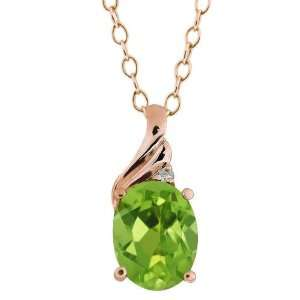 1.36 Ct Oval Green Peridot and Diamond Rose Gold Plated