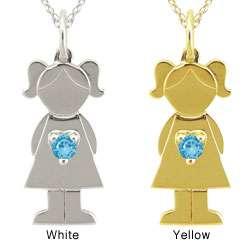 10k Gold Designer Little Girl Swiss Blue Topaz Necklace