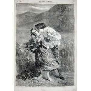 1858 Country Field Rye Man Woman Romance Mountains
