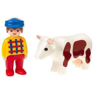 Playmobil   Farmer and Cow: Toys & Games