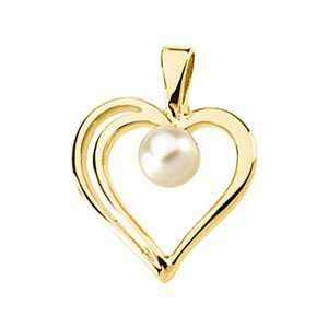 04.00 Mm 14K Yellow Gold Cultured Pearl Heart Pendant