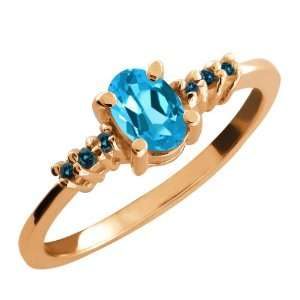0.59 Ct Oval Swiss Blue Topaz and Blue Diamond 14k Rose