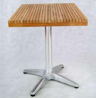 Modern Outdoor Teak & Aluminum Square Patio Table