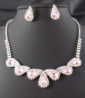 Wedding Bridal Pink crystal necklace earring Sliver Jewelry set TL0359
