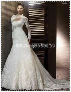 line ivory applique wedding bridal dress lace up sash sz custom