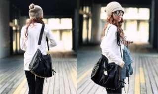 Womens PU Leather Shoulder Messenger Bag Handbag Purse Rivet