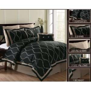Black Luxury Comforter Set   Size King  Home & Kitchen