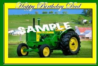 Big Green John Deere Tractor 1/4 sheet Edible Cake Topper |