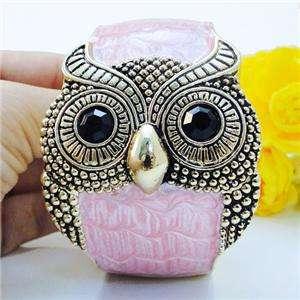 VTG Style Bird Owl Bracelet Bangle Cuff Rhinestone Pink Enamel
