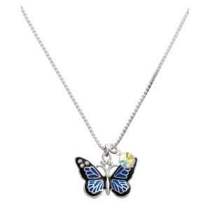 Large Blue Butterfly with 6 AB Swarovski Crystals Charm Necklace with