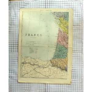 ANTIQUE MAP 1886 FRANCE BAY BISCAY BORDEAUX: Home & Kitchen