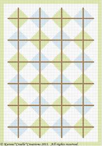 Crochet Pattern ARGYLE PRINT SQUARES Baby Afghan Graph