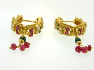 Ruby, Emerald & Pearl Solid 22K Yellow Gold Earrings