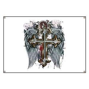 Banner Cross Angel Wings