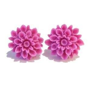 The Black Cat Jewellery Store Resin Chrysanthemum Stud Earrings   Rose
